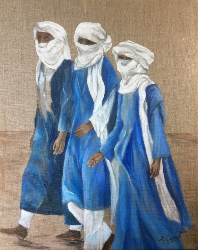 tableau peinture art hommes bleus dsert maghreb personnages acrylique touaregs. Black Bedroom Furniture Sets. Home Design Ideas