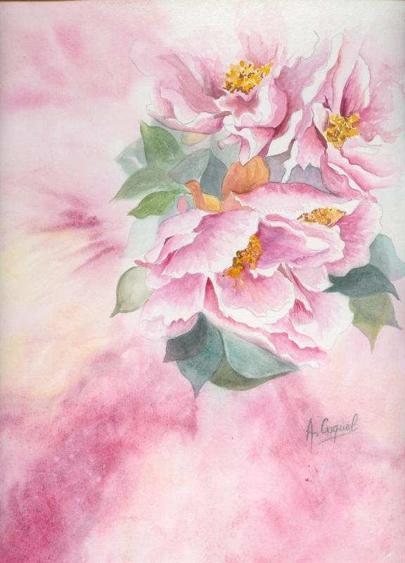 Tableau peinture art pivoine rose fleur delicatesse fleurs for Aquarelle fleurs