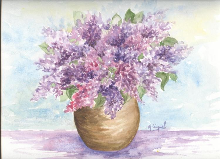 Tableau peinture art lilas fleurs bouquet printemps fleurs for Bouquet de fleurs lilas