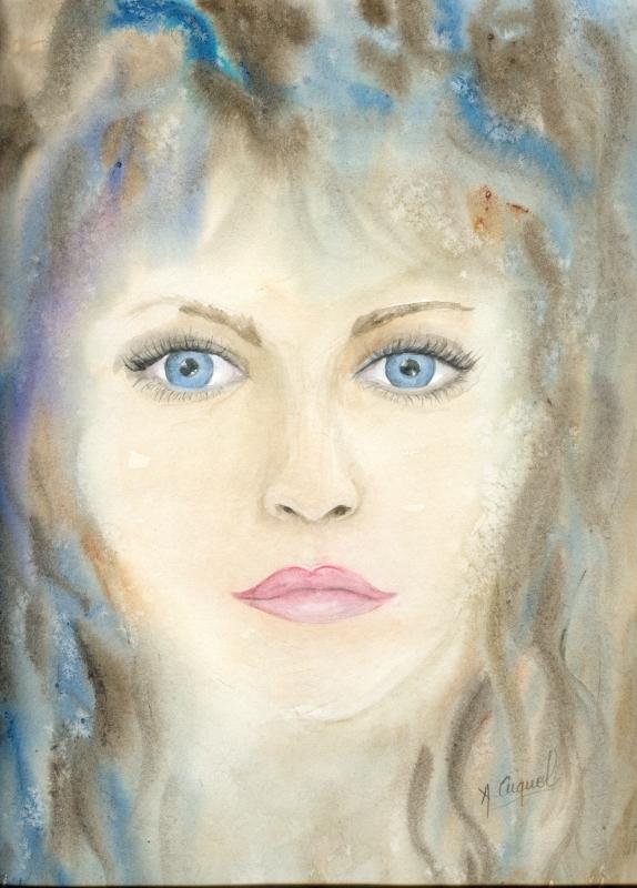 tableau peinture art portrait visage femme fille. Black Bedroom Furniture Sets. Home Design Ideas