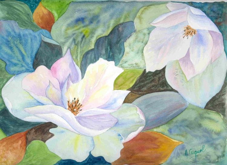 Tableau peinture art fleurs champetre nature printemps fleurs aquarelle fleurs blanches - Tableau triptyque fleurs blanches ...