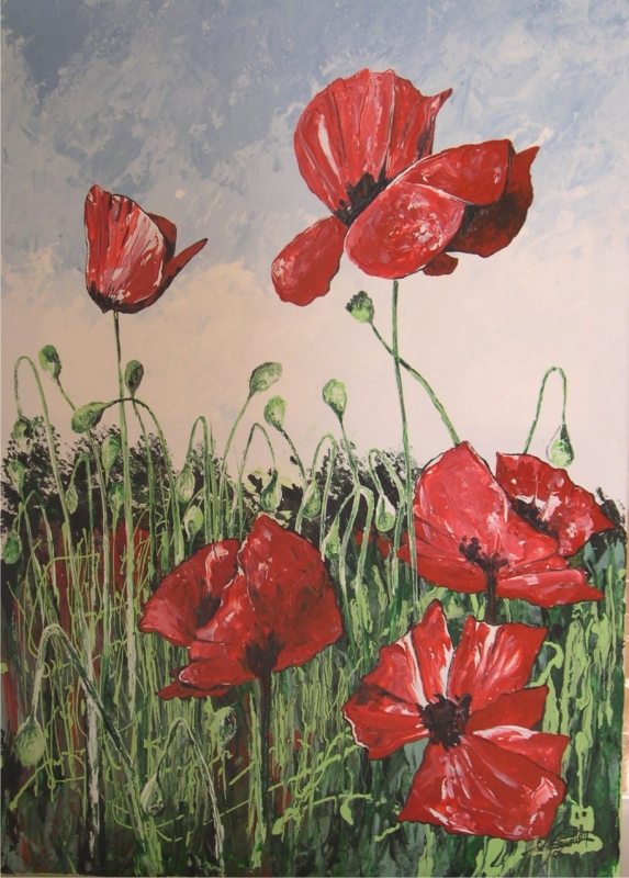 Tableau peinture art coquelicot champtre nature fleur for Tableau de coquelicot en peinture