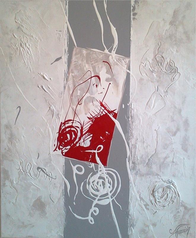 Tableau peinture art abstrait blanc rouge gris abstrait acrylique quilibre - Tableau gris et blanc ...