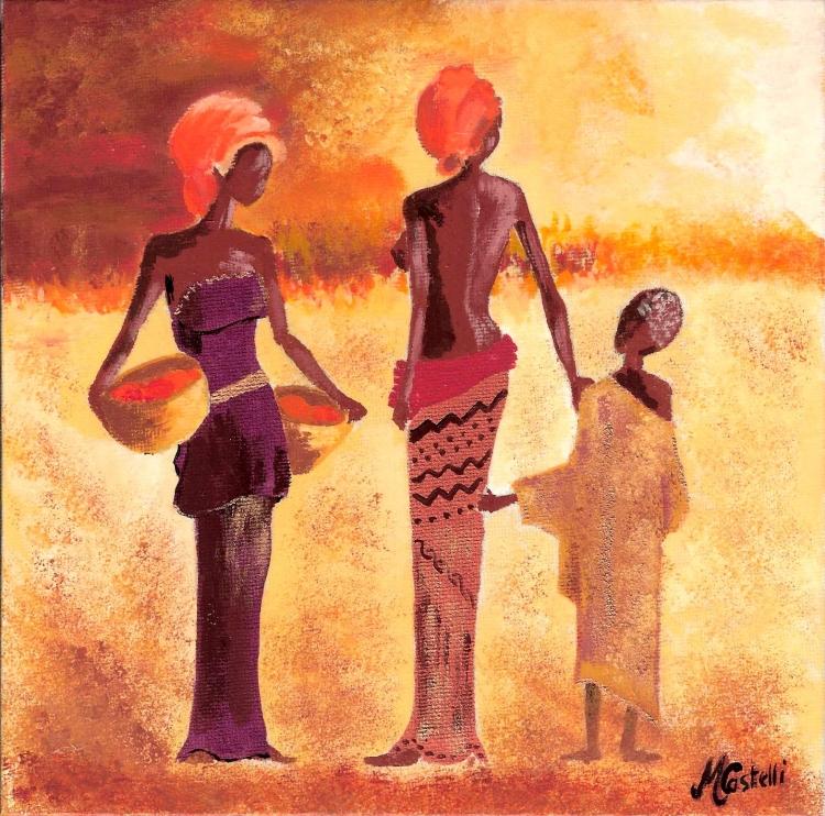 tableau peinture art afrique personnage drouot qualit personnages acrylique afrique 7. Black Bedroom Furniture Sets. Home Design Ideas