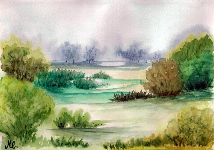 Tableau peinture art aquarelle paysages aquarelle for Paysage vert