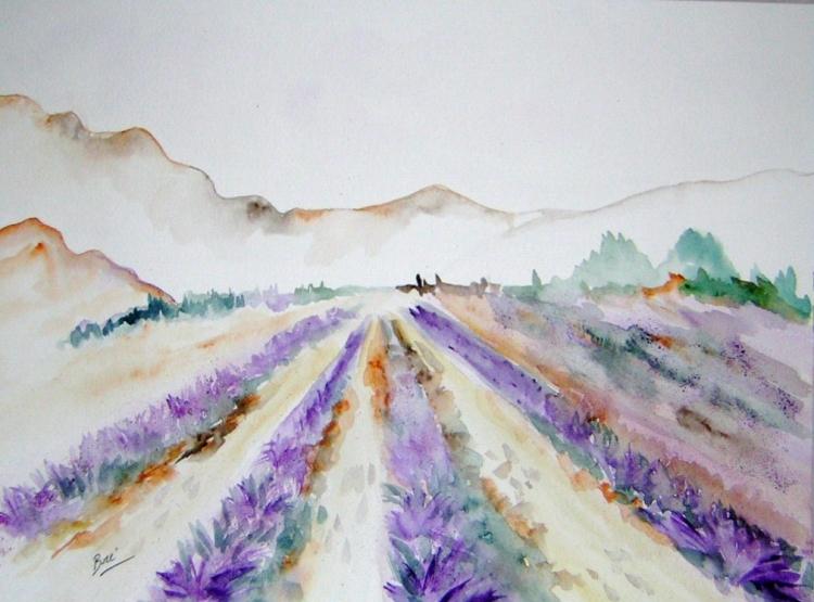 Tableau peinture aquarelle lavande provence champs de for Peinture couleur lavande