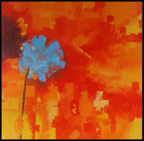 Tableau peinture art couteau fleur abstrait moderne for Photos de peinture moderne