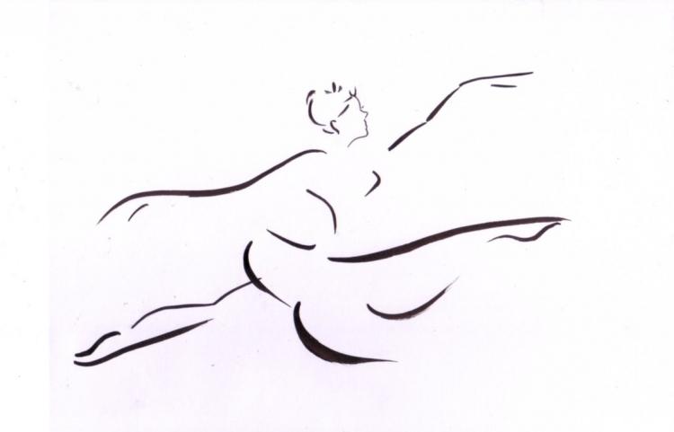 Dessin femme danse encre expressionniste Personnages Encre de Chine  - Femme danseuse