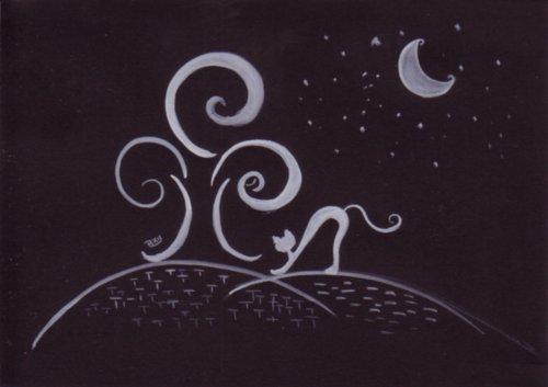 Tableau Peinture Art Chat, lune, arbre expressinnisme animaux aquarelle Animaux  - Chat, Lune et l'Arbre