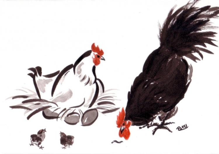 Dessin coq encre chinois expressionniste coq poule poussins - 4 images 1 mot poussin lapin ...