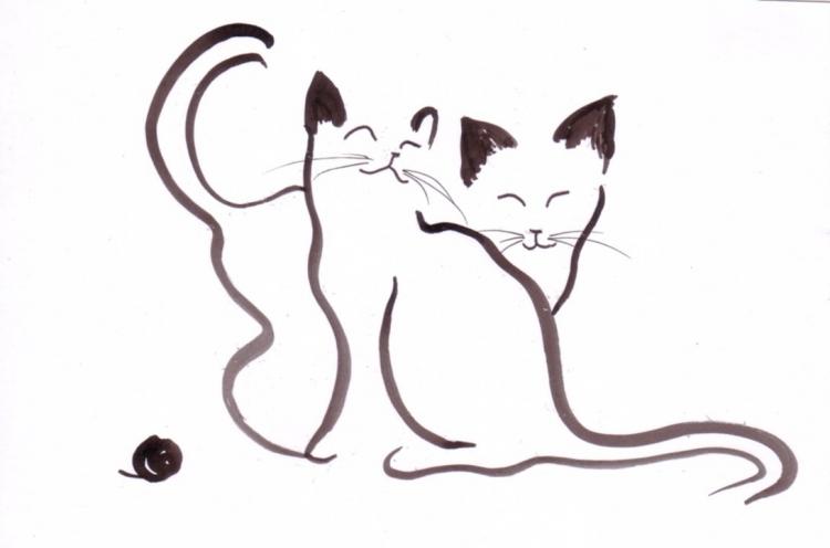 Dessin chats animaux encre de chine expressionnisme exp - Dessins de chat ...