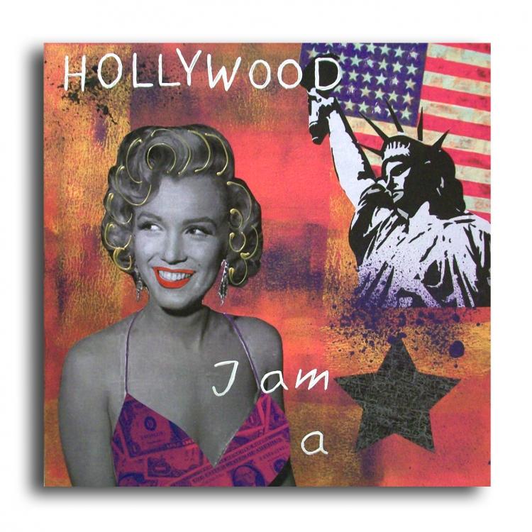 TABLEAU PEINTURE marilyn monroe usa new york design - Tableau marilyn monroe usa new york statue rose
