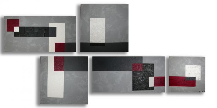 Tableau peinture art gris noir toile moderne tableau - Tableau rouge noir gris moderne ...
