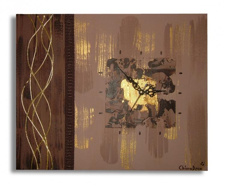Tableau peinture art horloge tableau marron toile moderne for Peinture toile moderne