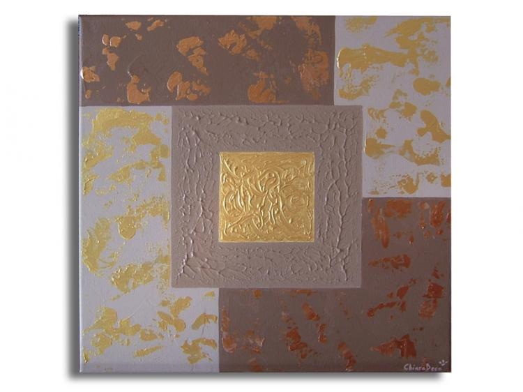 Tableau peinture art marron dor toile moderne tableau contemporain abstrait a - Tableaux tryptiques contemporains ...