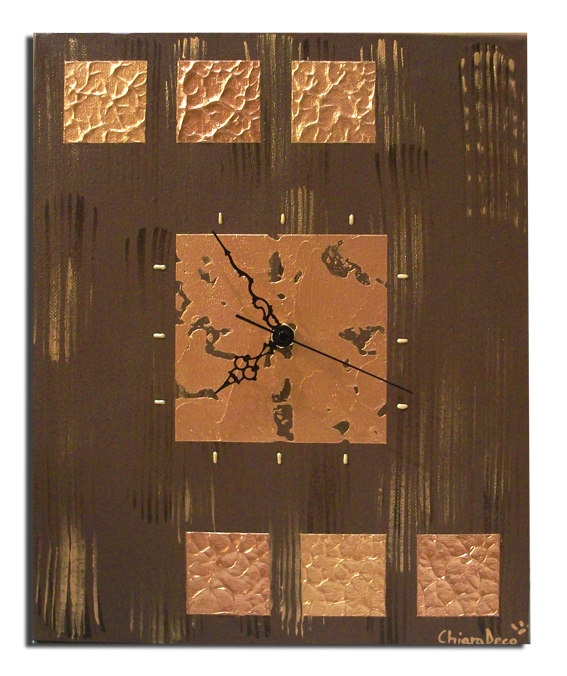 tableau peinture art tableau horloge marron moderne abstrait acrylique tableau horloge marron. Black Bedroom Furniture Sets. Home Design Ideas