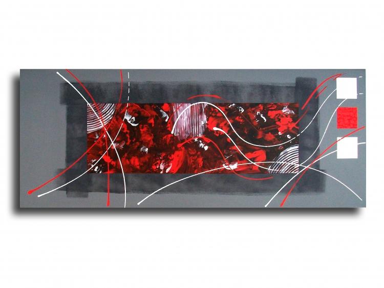 tableau peinture toile design rouge noir tableau toile rouge gris noir design contemporain moderne. Black Bedroom Furniture Sets. Home Design Ideas