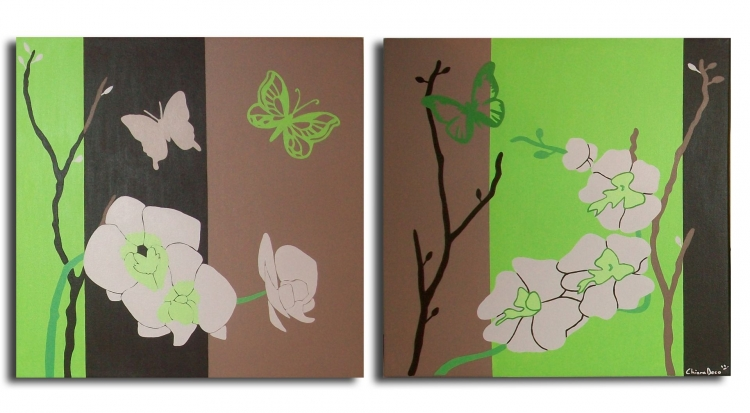 tableau peinture art orchid e fleur asiatique vert fleurs acrylique tableau diptyque fleur. Black Bedroom Furniture Sets. Home Design Ideas