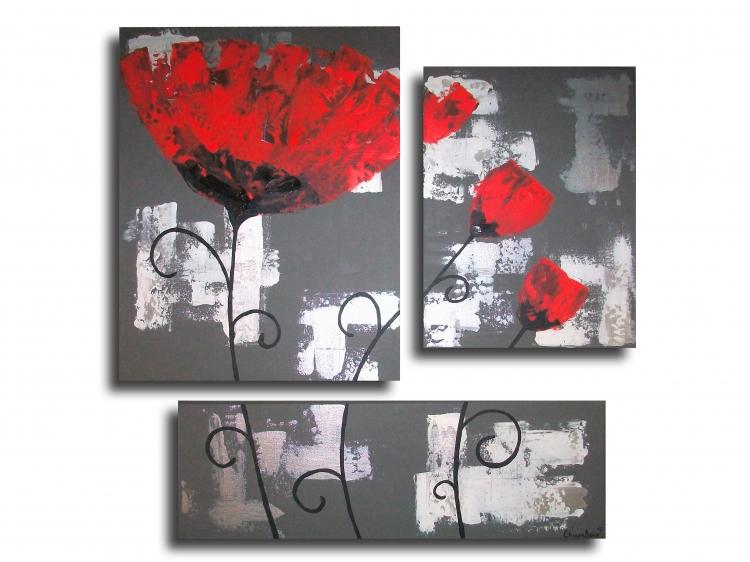 Tableau peinture tableau coquelicot fleur rouge tableau triptyque fleur coq - Tableau gris et blanc ...