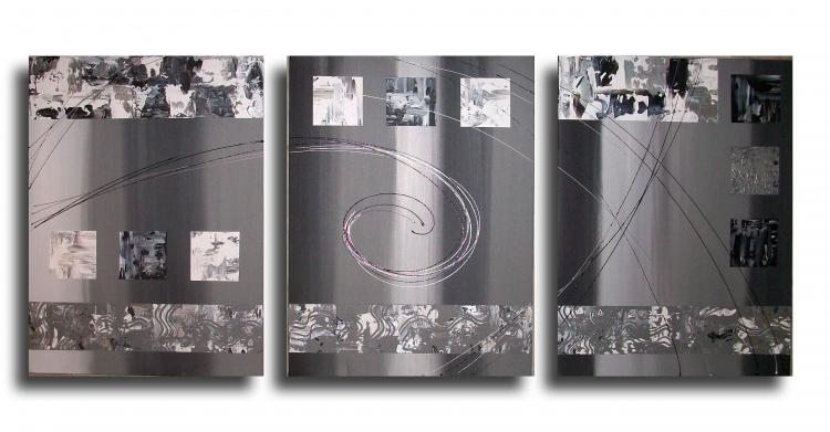 Tableau peinture art tableau gris noir design abstrait for Tableau noir et blanc moderne