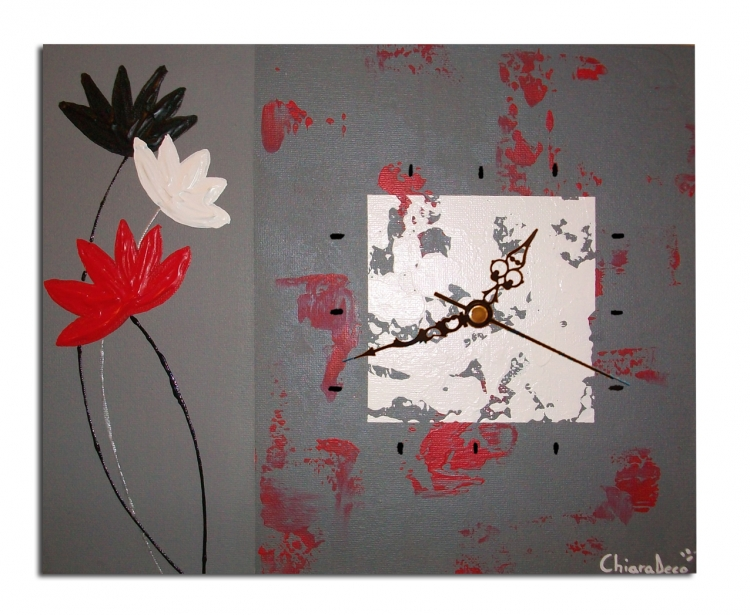 Tableau peinture art tableau fleur horloge fleur rouge - Tableau rouge noir gris moderne ...