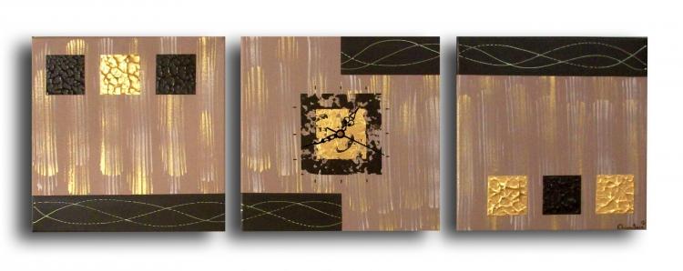 Tableau peinture art horloge triptyque marron or abstrait acrylique tableau - Peinture acrylique triptyque ...