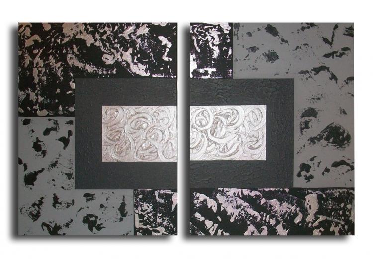 Tableau peinture art tableau gris noir moderne abstrait acrylique tableau d - Tableau contemporain moderne design ...