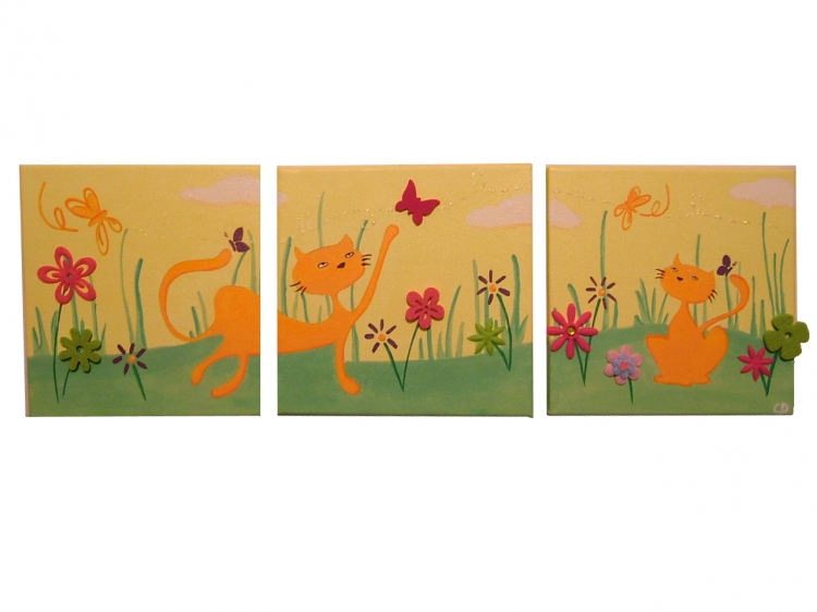 Tableau peinture art chat jardin enfant vert animaux acrylique tableau trip - Tableau peinture triptyque ...