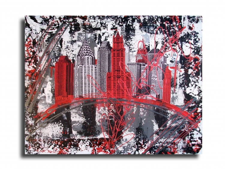 tableau peinture art new york design rouge collage villes collage tableau new york city rouge. Black Bedroom Furniture Sets. Home Design Ideas