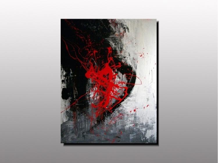 Tableau peinture art artiste peintre plas tableau abstrait rou art contemporain pei dcoration for Peinture sur resine