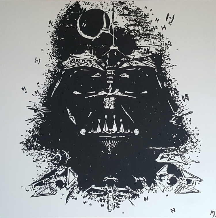 tableau peinture art star wars dark vador personnages acrylique vador. Black Bedroom Furniture Sets. Home Design Ideas