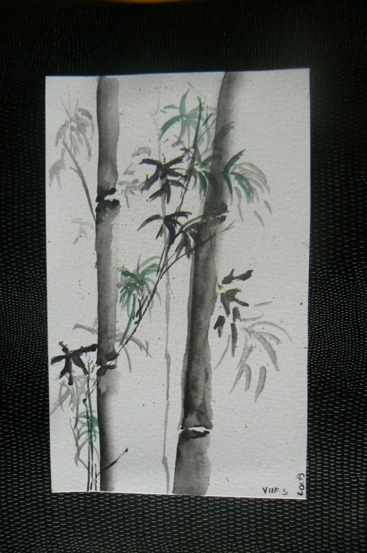 Tableau peinture art encre de chine peinture chinoise for Peintures en noir et blanc