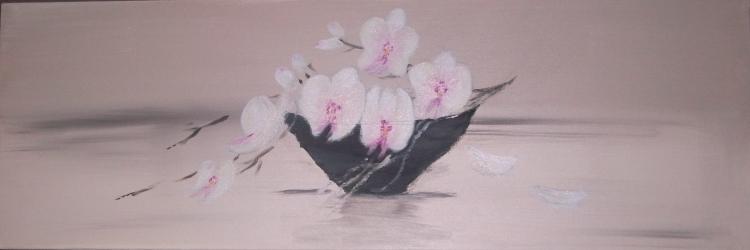Tableau peinture art orchide reprsentation zen nature for Peinture salon zen