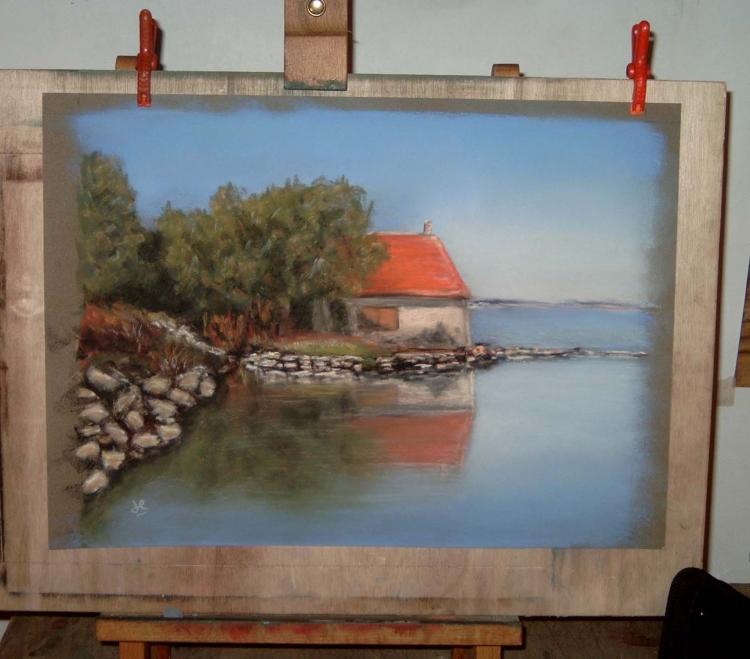 tableau peinture art marine mer maison paysage marine pastel la maison au bord du lac. Black Bedroom Furniture Sets. Home Design Ideas