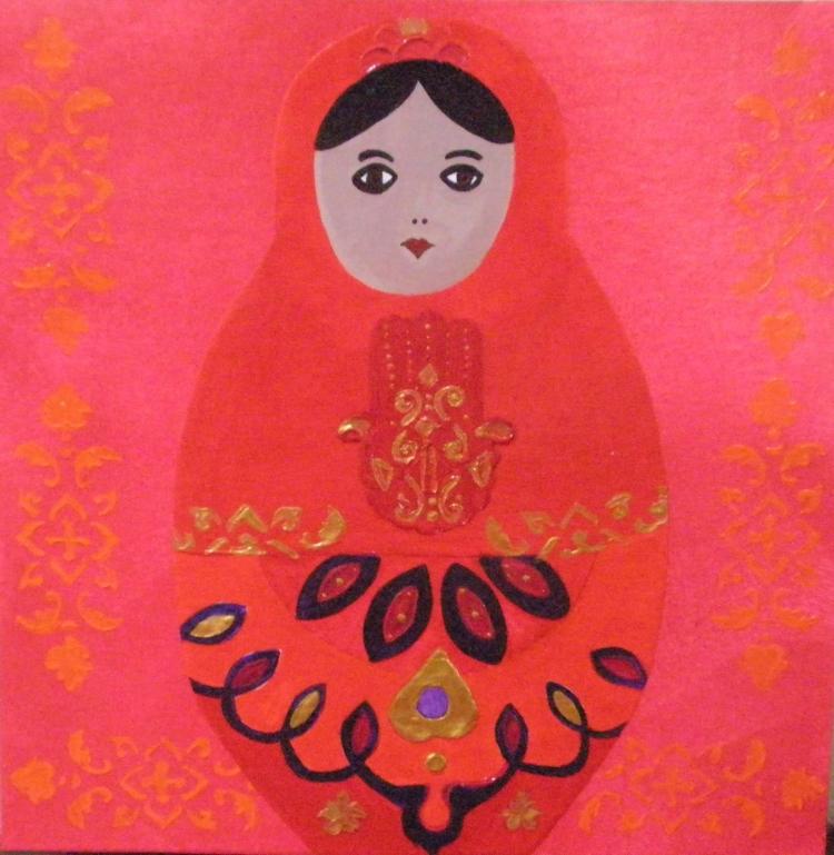 PEINTURE matriochka main de fatima maroc motif - demoiselle marocaine
