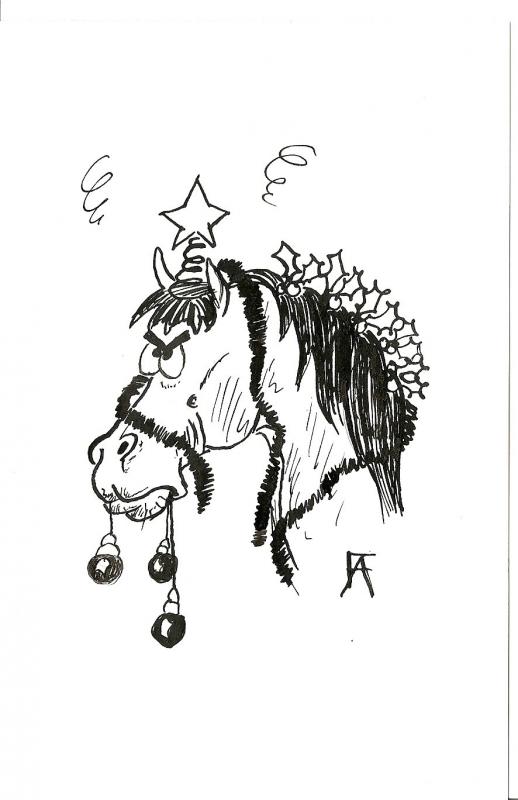 Dessin cheval humour no l encre animaux encre de chine - Dessin humour noel ...