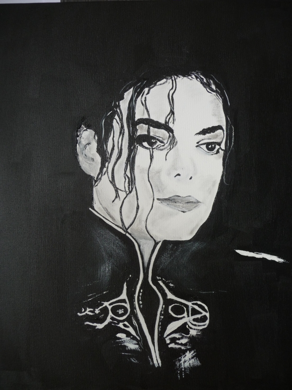 tableau peinture art portrait noir et blanc jackson michael personnages acrylique michael jackson. Black Bedroom Furniture Sets. Home Design Ideas