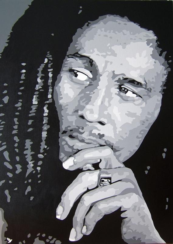 Tableau peinture art musique reggae chanteur noir et blanc for Tableau portrait noir et blanc