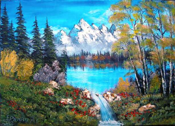 tableau peinture art paysages lac montagnes sapins cascade. Black Bedroom Furniture Sets. Home Design Ideas