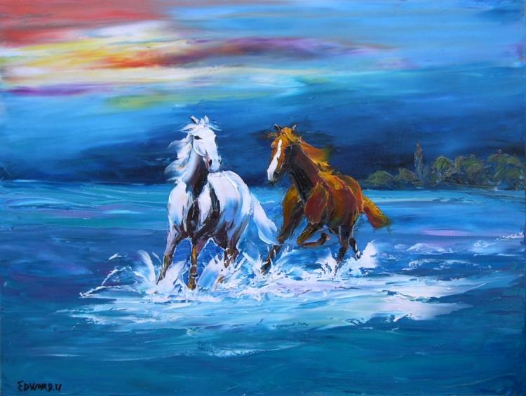 tableau peinture art cheval camargue eaux autome animaux peinture a l 39 huile camargue. Black Bedroom Furniture Sets. Home Design Ideas