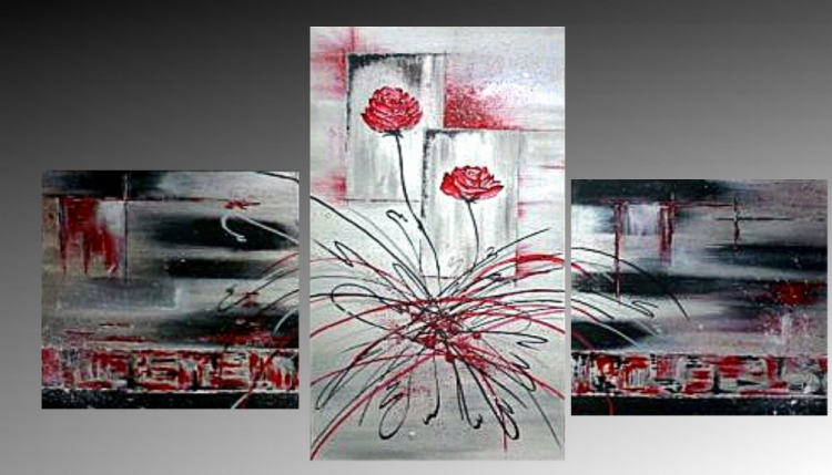 tableau peinture art rose rouge deco moderne abstrait acrylique lillypop. Black Bedroom Furniture Sets. Home Design Ideas