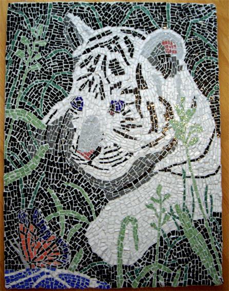 Tableau peinture art mosaique tigre animal tableau animaux for Comment coller de la mosaique