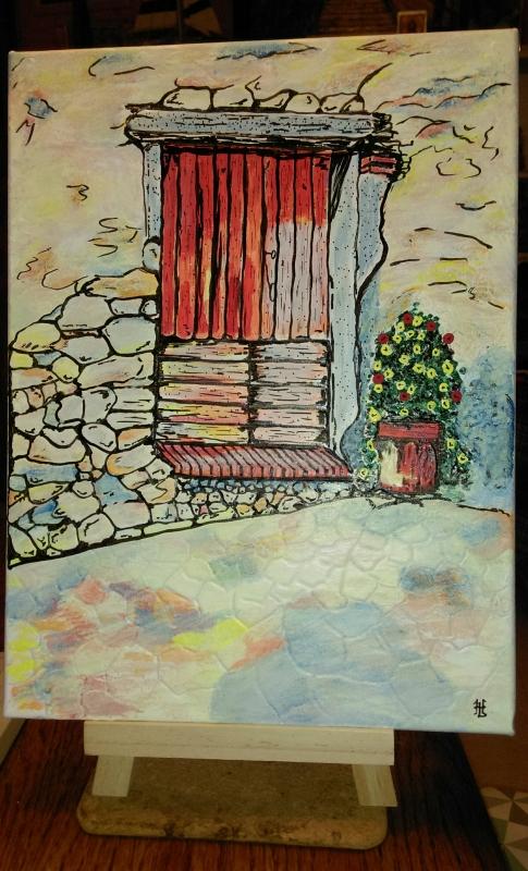 TABLEAU PEINTURE Porte Architecture maison La Vielle Porte cham - N° 104 La Vielle Porte champêtre H41 x L33
