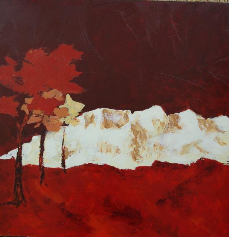 tableau peinture art paysage contemporain montagne ste