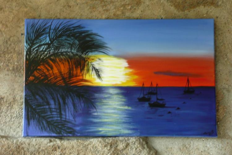 Tableau peinture art bateaux soleil palmiers mer marine for Tableau sur la mer
