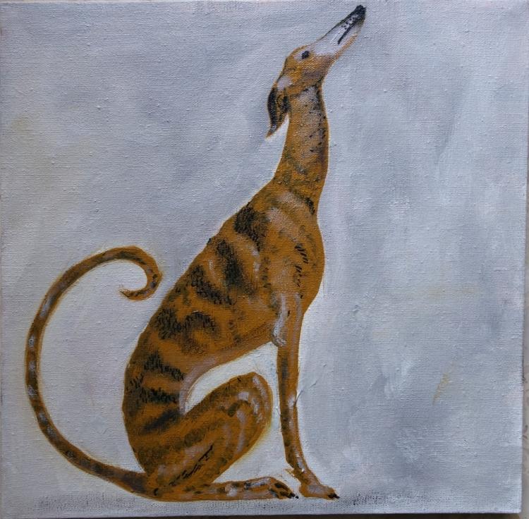 Tableau Peinture Art Chien L 233 Vrier Espagnol Galgo Animaux Assis