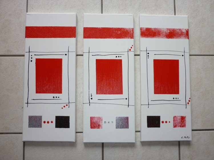 Tableau peinture art abstrait moderne contemporain tryptique abstrait acryliq - Peinture acrylique triptyque ...