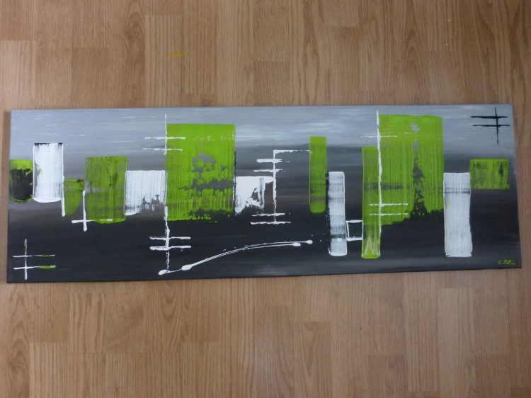 Tableau peinture art abstrait contemporain moderne vert - Tableau vert anis ...