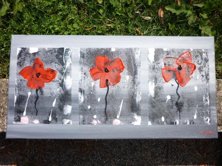 Tableau peinture art coquelicot abstrait moderne for Tableau de coquelicot en peinture