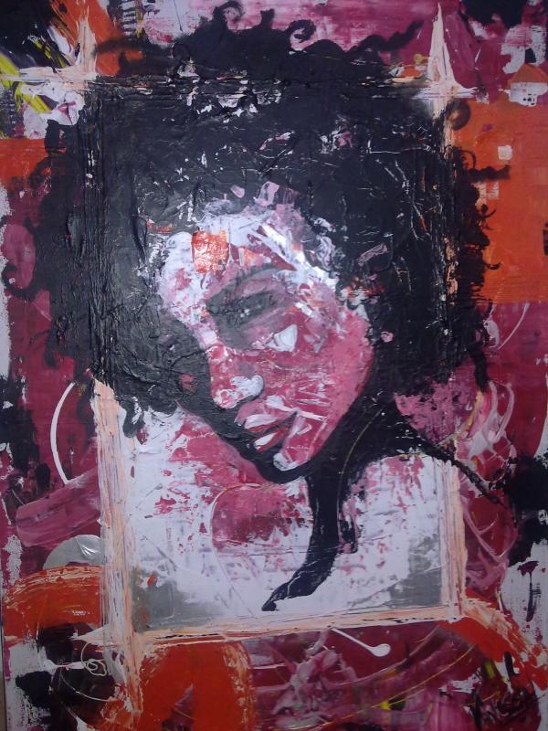 tableau peinture art rose orange argent visage abstrait acrylique renouveau. Black Bedroom Furniture Sets. Home Design Ideas